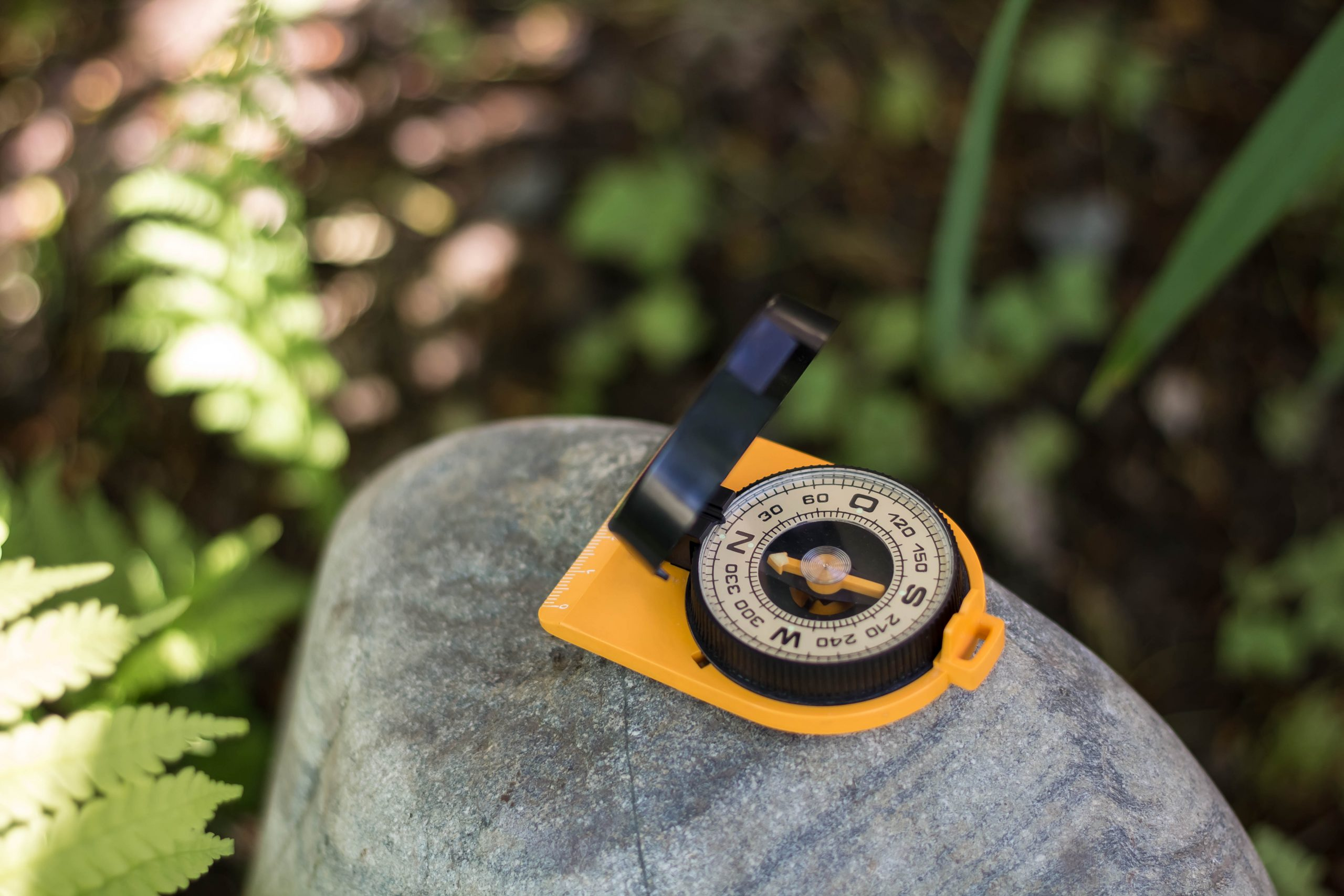 Old Compass on a wild stone in the forest. The concept of finding the way and navigation