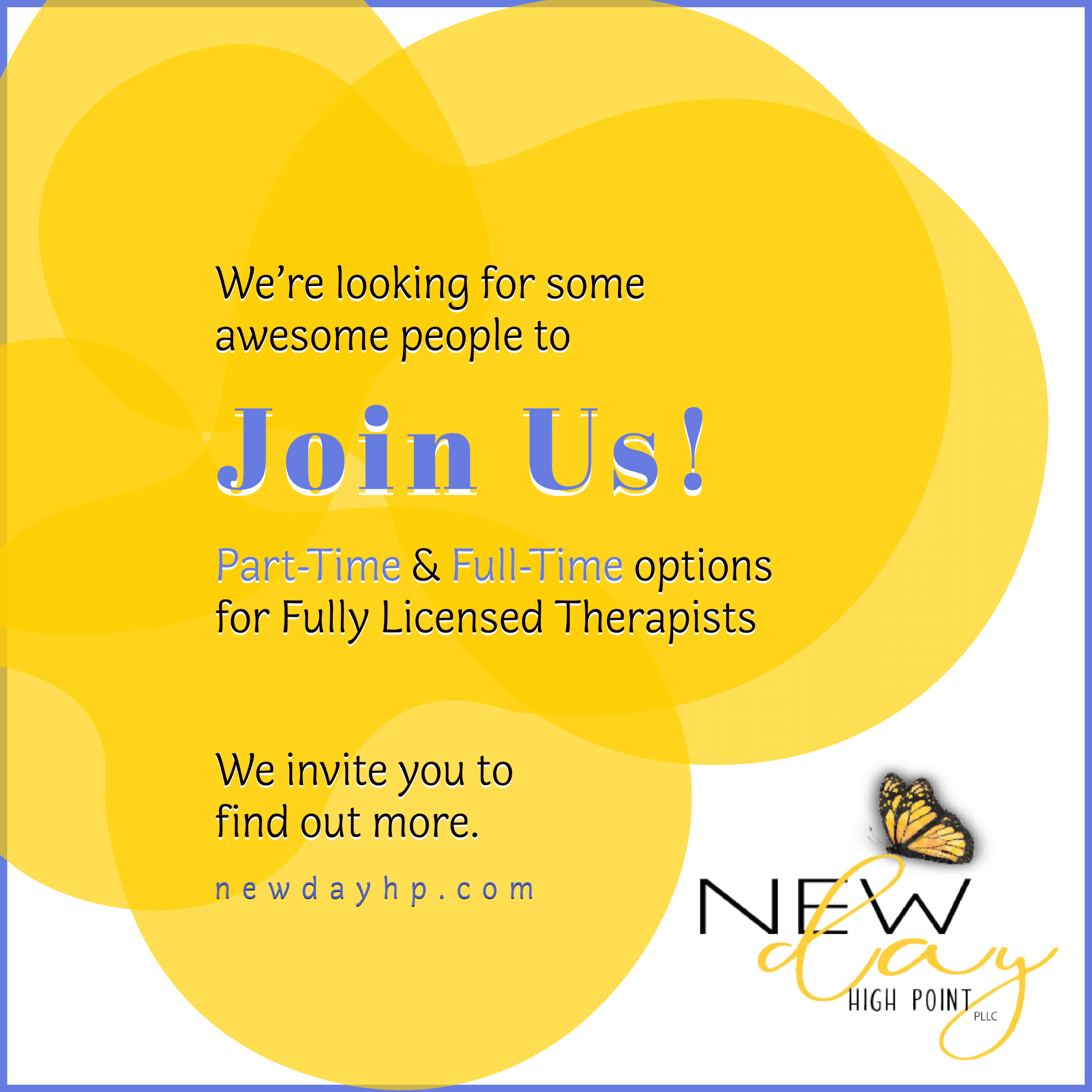 We're looking for some awesome therapists to join us! New Day High Point